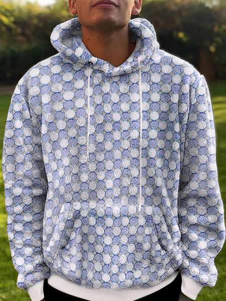 Yoins INCERUN Men Autumn Winter Polka Dot Print Big Pocket Long Sleeve Hoodie