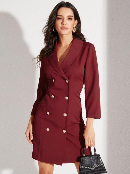 YOINS Burgundy Button Design With Padded Shoulder Dress