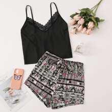 Cami Top mit Kontrast Spitze und Shorts mit Stamm Muster