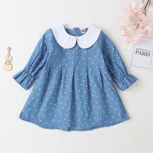Denim Kleid mit Peter Pan Kragen und Gaensebluemchen Muster