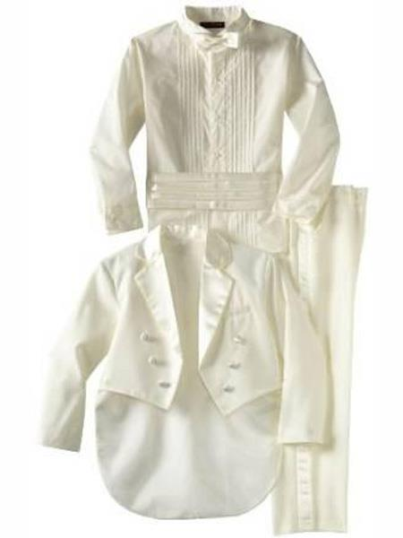 Baby Boys Notch Lapel Off White Tuxedo Suit