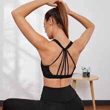 Solid Backless Sports Bra