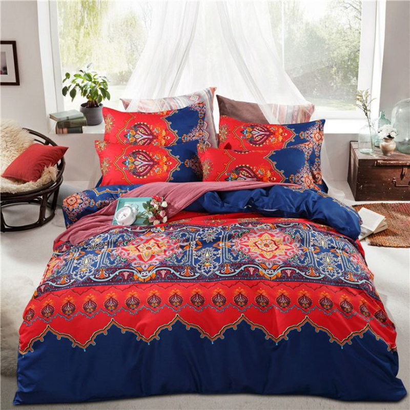 Moroccan Style Contrast Color Polyester 4-Piece Bedding Sets