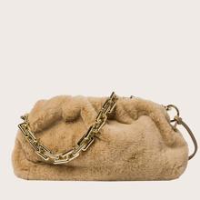 Tasche mit Kunstpelz Dekor und Ruesche