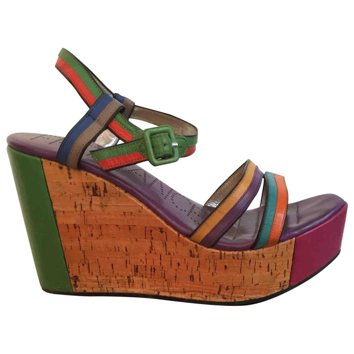 Free Lance - Sandales   pour femme en cuir - multicolore