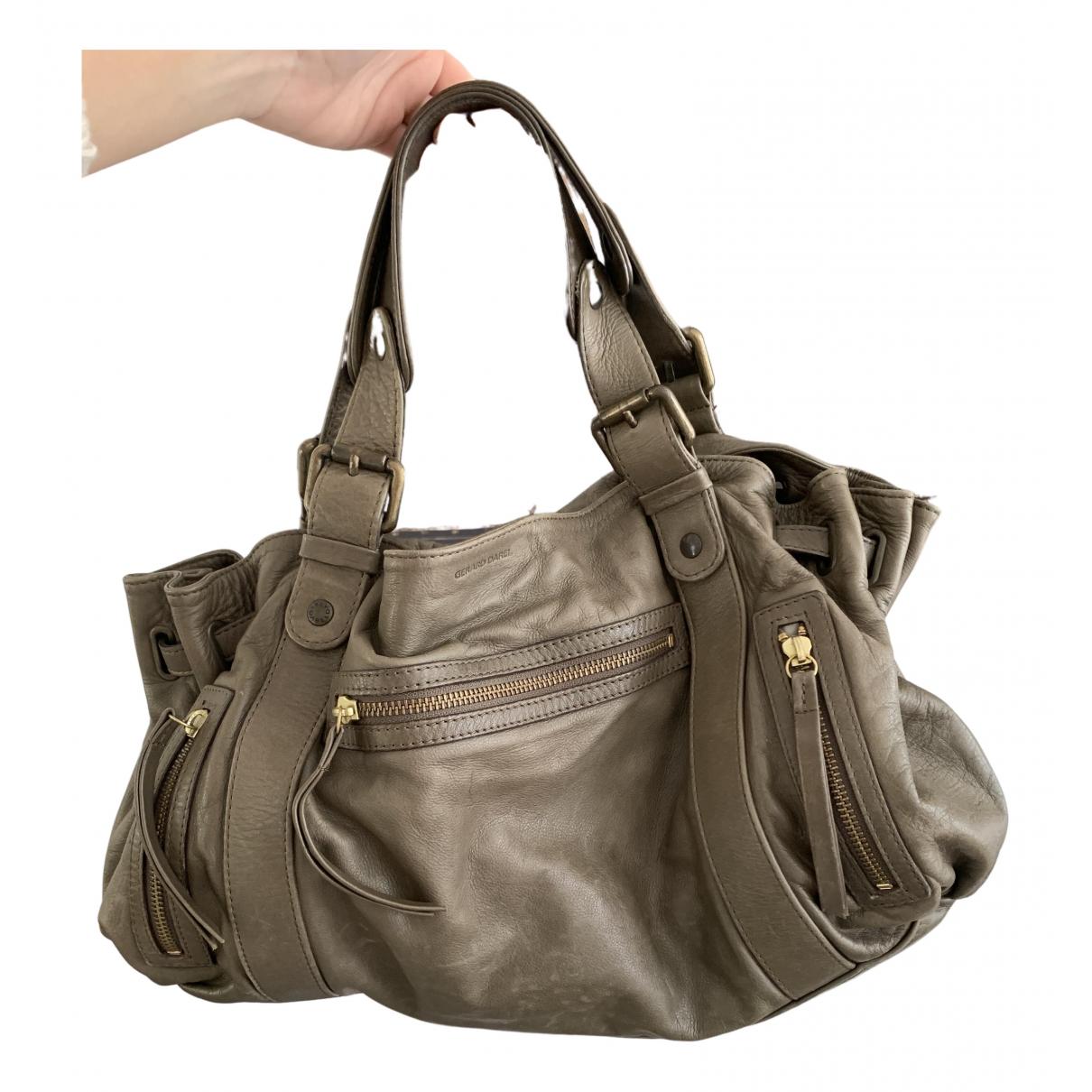 Gerard Darel 24h Khaki Leather handbag for Women N