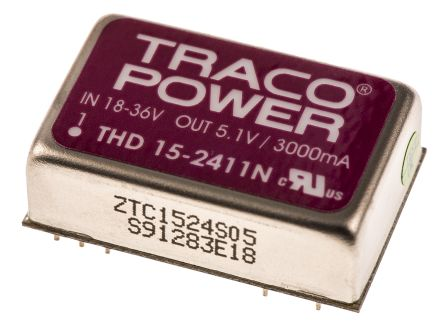 TRACOPOWER THD 15N 15W Isolated DC-DC Converter Through Hole, Voltage in 18 → 36 V dc, Voltage out 5V dc