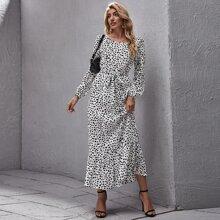 Ruffle Hem Belted Dalmatian Dress