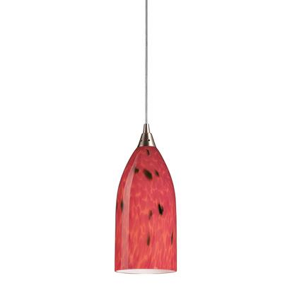 502-1FR 1 Light Pendant in Satin Nickel and Fire Red