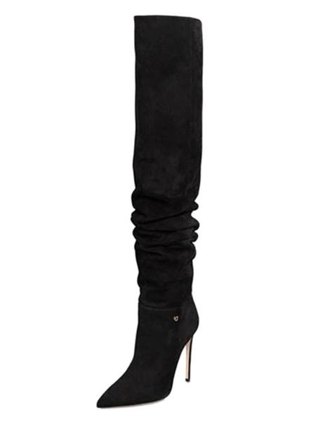 Milanoo Botas sobre la rodilla para mujer Botas de invierno con punta en punta negra Botas altas hasta el muslo