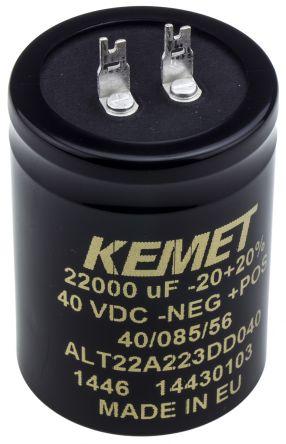 KEMET 22000μF Electrolytic Capacitor 40V dc, Solder Lug - ALT22A223DD040