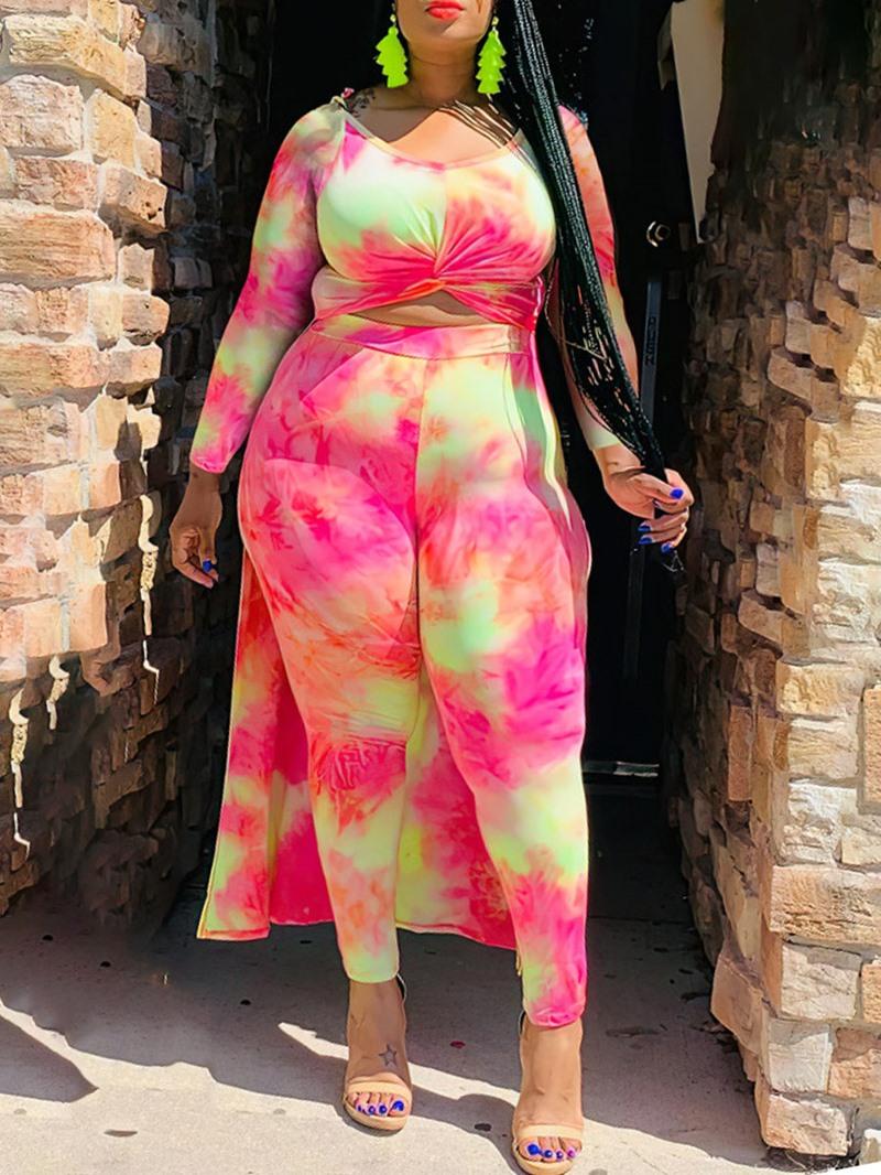 Ericdress Color Block Print Shirt Pencil Pants Pullover Two Piece Sets