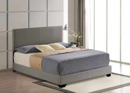 Ireland III Collection 24320Q Queen Size Bed with Low Profile Footboard  High Headboard  Chipboard Materials and Bycast PU leather Uphlstery in Grey