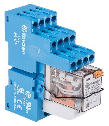 Finder , 24V ac 4PDT Interface Relay Module, Screw Terminal , DIN Rail