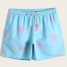 Shorts de natacion de hombres de cintura con cordon con estampado de estrella de mar