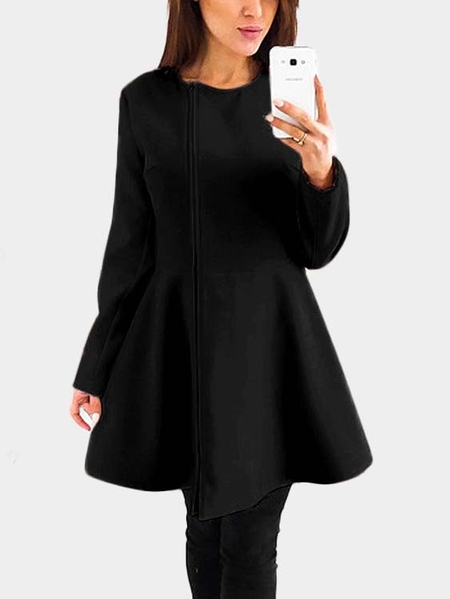 Yoins Black Zip Design Round Neck Ruffle Hem Mini Dress