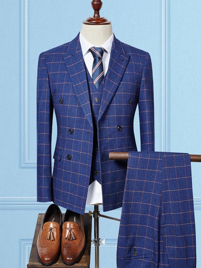 Ericdress Plaid Blazer Pants Vest Mens Suit