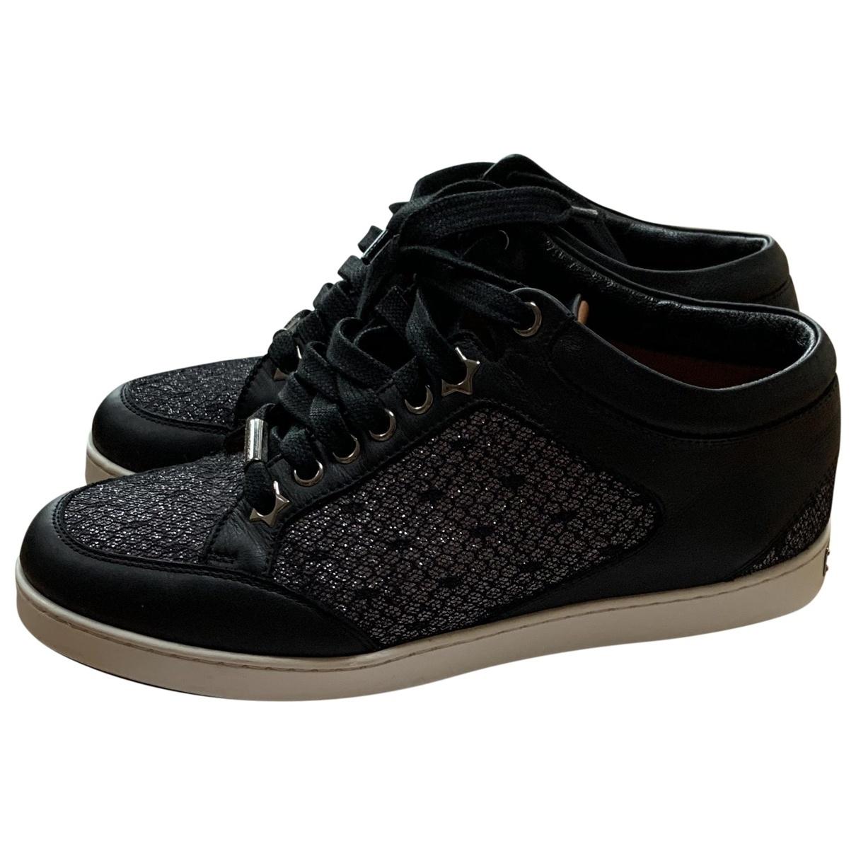 Jimmy Choo - Baskets   pour femme en cuir - noir