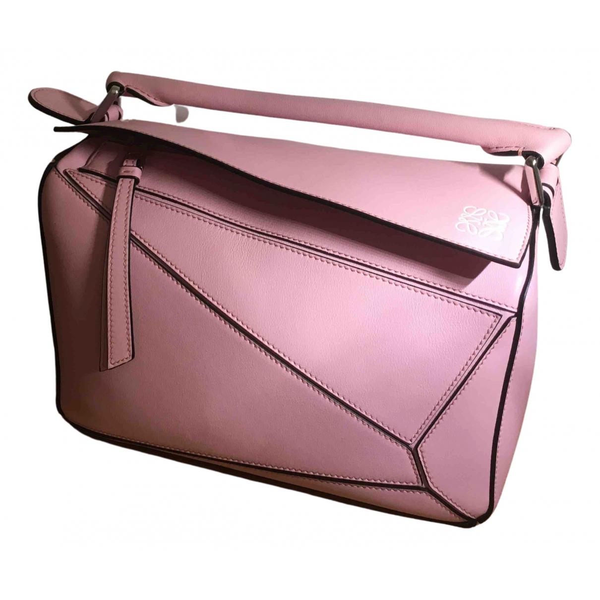 Loewe Puzzle  Handtasche in  Rosa Leder