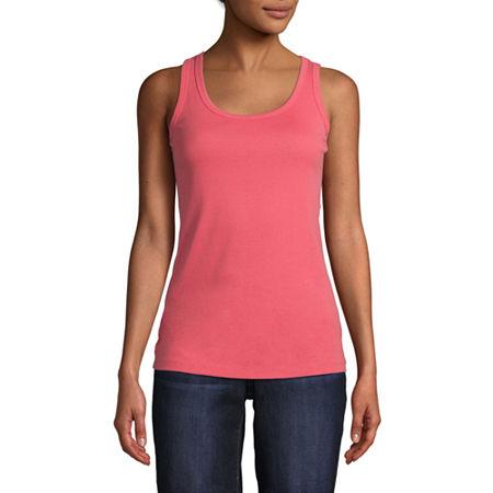 St. John's Bay Womens Scoop Neck Sleeveless Tank Top, Small , Pink