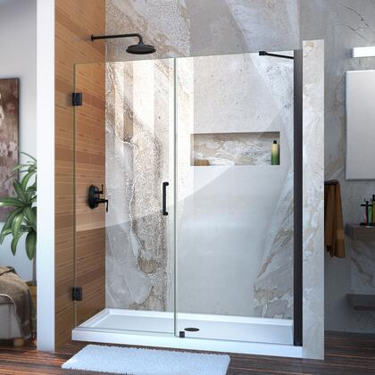 SHDR-20587210-09 Unidoor 58-59 W X 72 H Frameless Hinged Shower Door With Support Arm In Satin