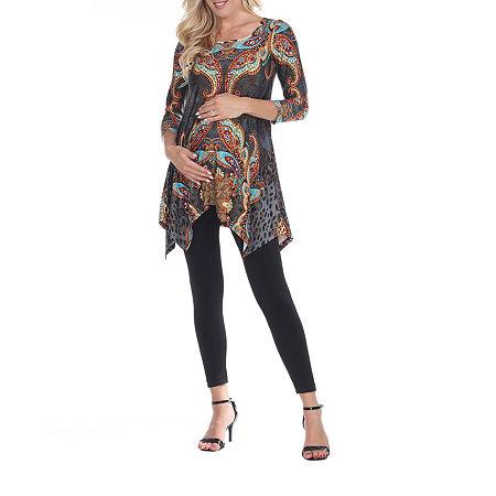 White Mark-Maternity Arlene Womens Scoop Neck 3/4 Sleeve Tunic Top, Large , Brown
