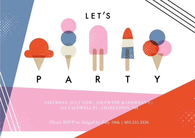 Kids Birthday Party Flat Glossy Photo Paper Cards with Envelopes, 5x7, Card & Stationery -Let's Ice Cream