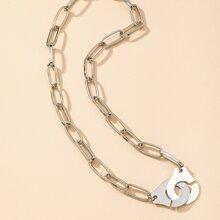 Halskette mit Handschelle Anhaenger und Kette