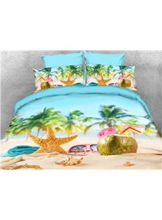 Coconut And Starfish On The Beach 3D Printed 4-Piece Polyester Bedding Sets/Duvet Covers