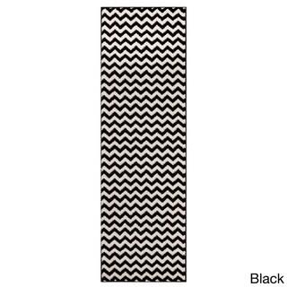 Super Area Rugs Metro Chevron Striped Area Rug (Black/White 2'7