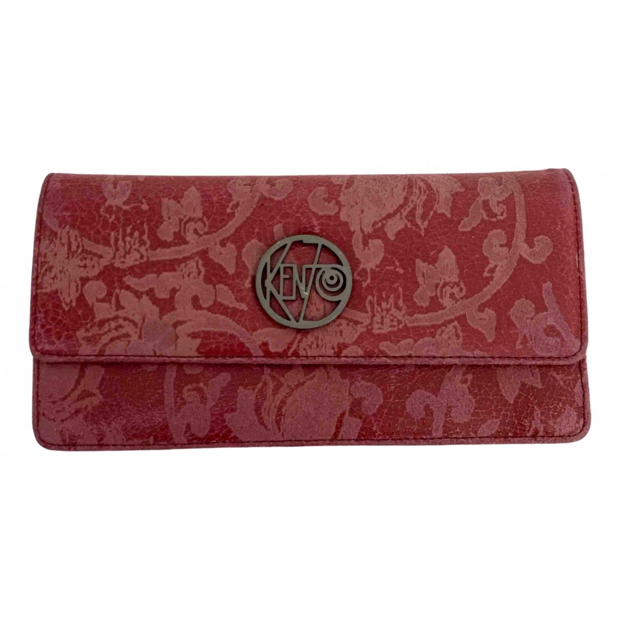 Kenzo - Portefeuille   pour femme en cuir - rouge