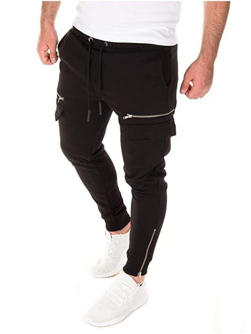 Ericdress Plain Zipper Pencil Pants Mid Waist Lace-Up Casual Pants