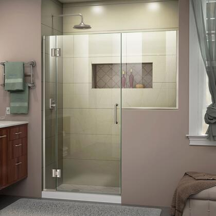 D1303634-04 Unidoor-X 72-72 1/2 W X 72 H Frameless Hinged Shower Door In Brushed
