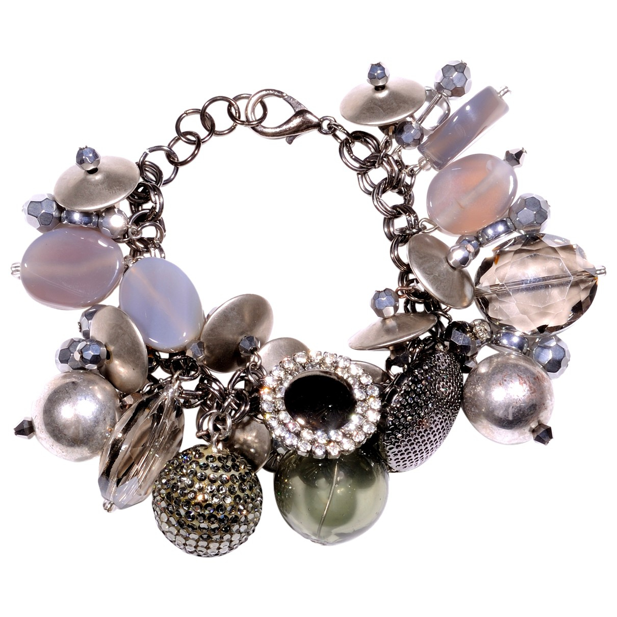 Non Signe / Unsigned Gourmette Armband in  Silber Metall