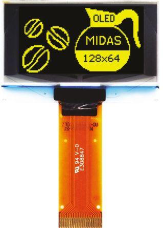 Midas 1.54in Yellow Passive matrix OLED Display 128 x 64 TAB I2C, Parallel, SPI Interface