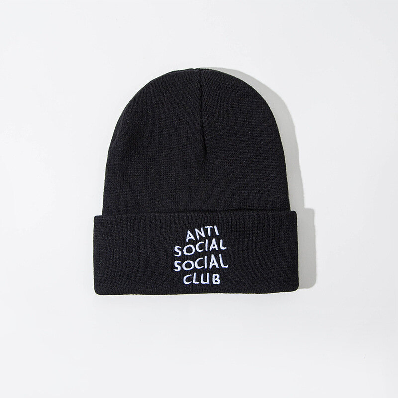 Unisex Anti-social Print Knitted Wool Hat Skull Cap Beanie With Letter