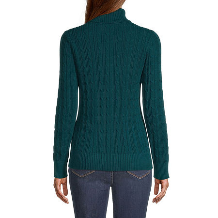 St. John's Bay Cable Womens Turtleneck Long Sleeve Pullover Sweater, X-large , Green