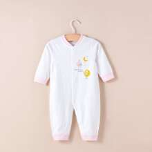Baby Girl Letter & Cartoon Graphic Button Jumpsuit