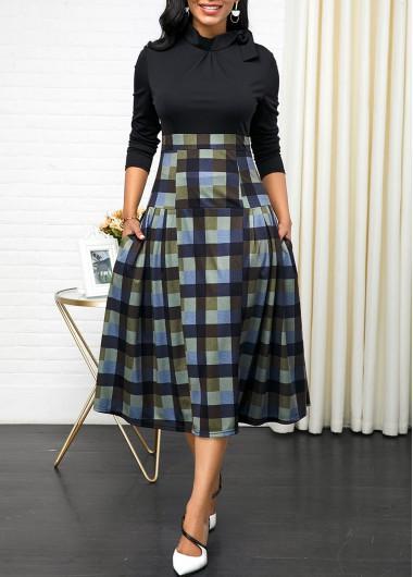 Black Dresses Side Pocket Tie Neck Plaid Print Dress - XS