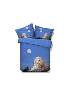 Crouching Lion under Moonlight Printed Cotton 3D 4-Piece Bedding Sets/Duvet Covers