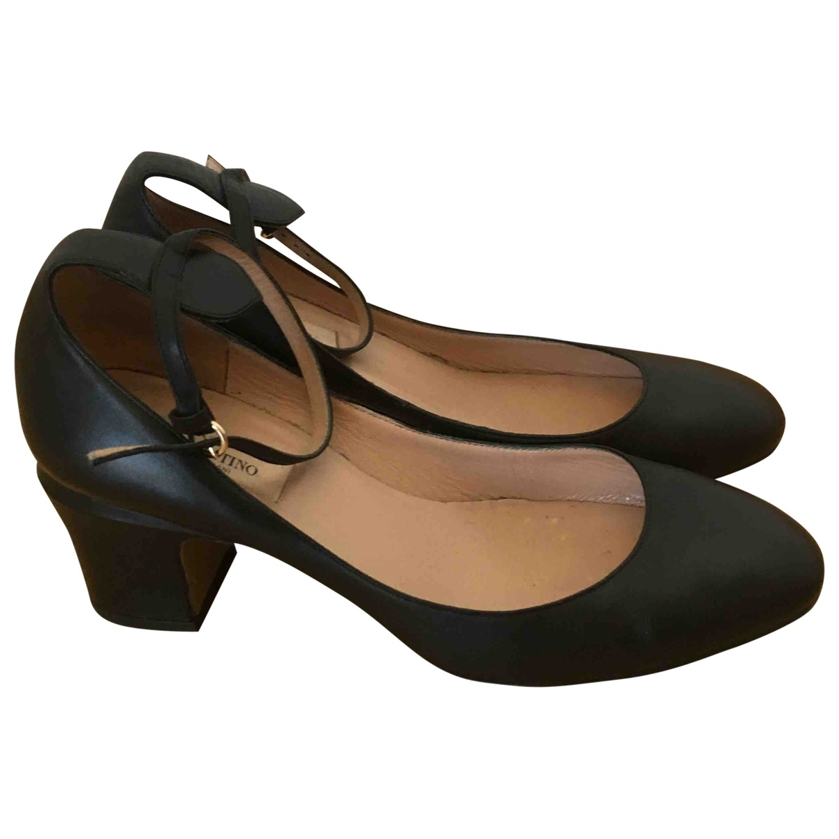 Valentino Garavani Tango Black Leather Heels for Women 37 EU