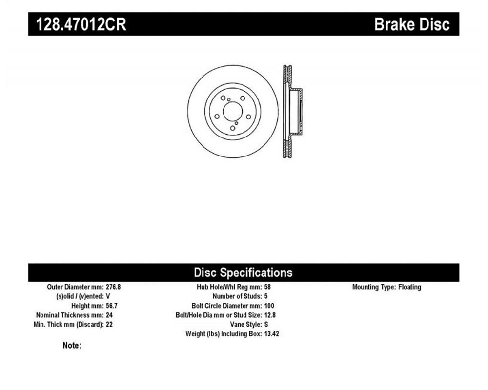 StopTech 128.47012CR Sport Cryo Cross Drilled Brake Rotor Front Right