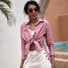 Striped Slit Hem Button Up Blouse