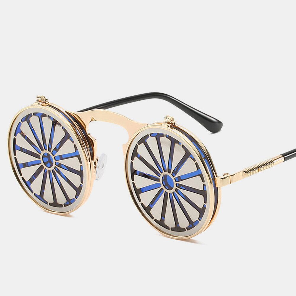 Cross-border Steampunk Clamshell Female Sunglasses Men's Classic Metal Mirror Retro Colorful Sunglasses