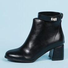 Turn-lock Decor Chunky Heeled Ankle Boots