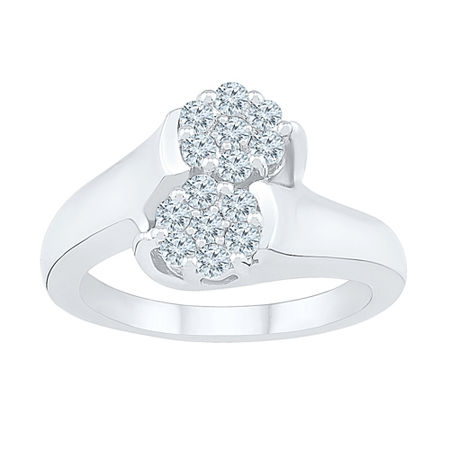Womens 1/2 CT. T.W. Genuine White Diamond 10K White Gold Flower Cluster Cocktail Ring, 7 , No Color Family