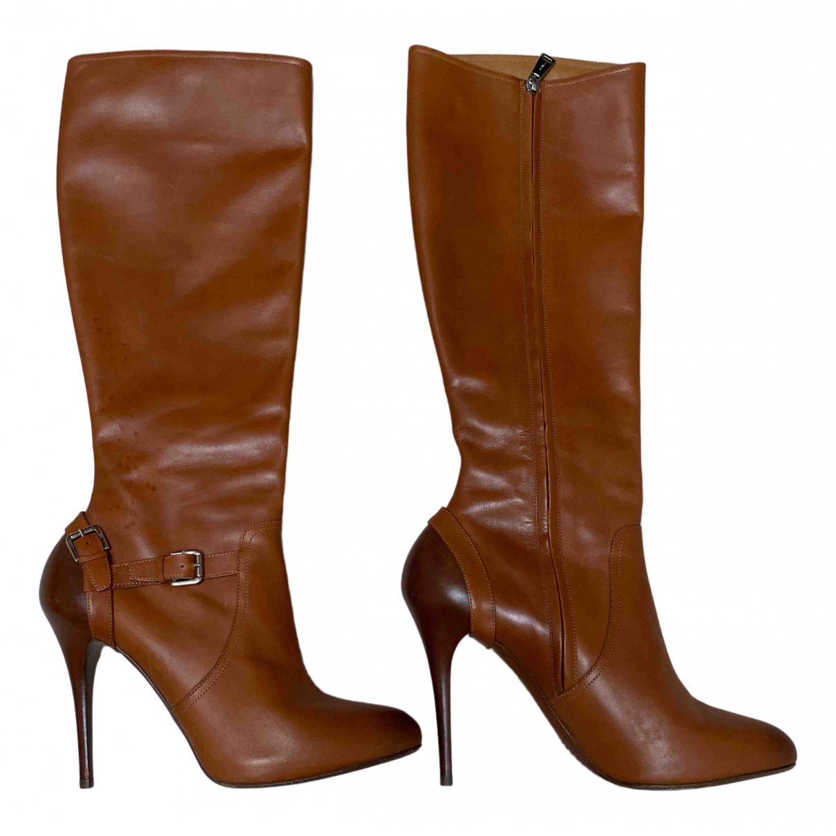 Ralph Lauren N Brown Leather Boots for Women 10 US