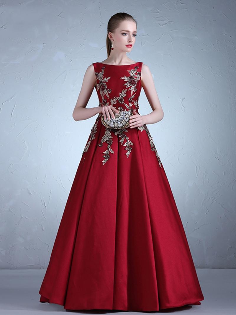 Ericdress Appliques Sleeveless Floor-Length Ball Evening Dress