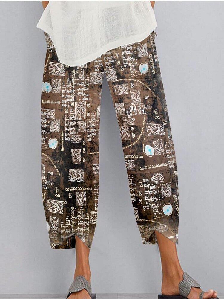 Vintage Printed Elastic Waist Pocket Pants For Women