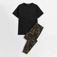 Men Shorts Sleeve Tee & Drawstring Camo Pants Set